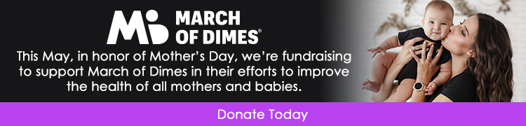 Decorative banner with link to March of Dimes donation page